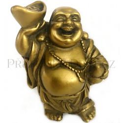 Buddha Bohatství s Ingotem Zlatý / Soška 9cm