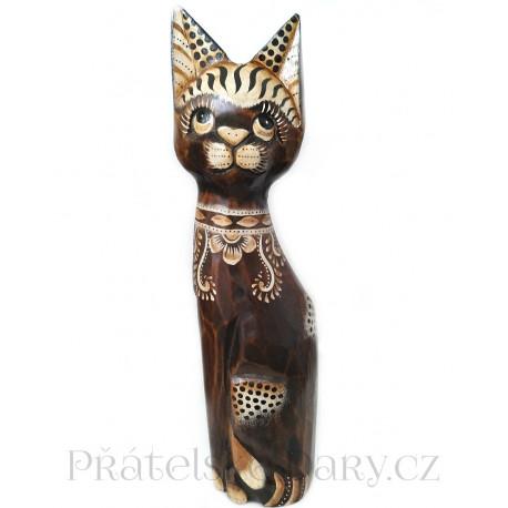Kočka 14 dřevěná Socha / 40 cm