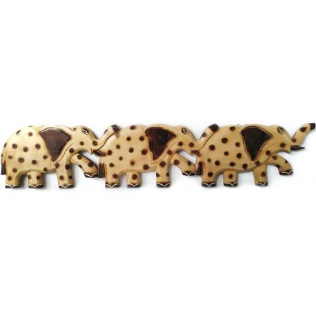 Slon 3 Sloni dekorace - věšák / dřevo 80cm