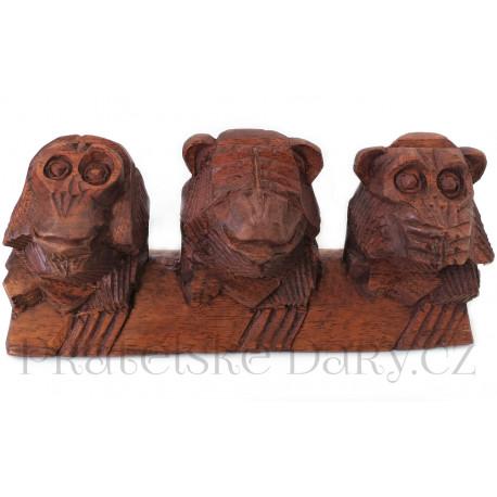 nevidím neslyším nemluvím 3 Opičky / Dřevo 20cm