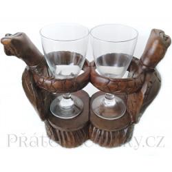 Želva soška stojánek na Víno, sklenice Dřevo 30 cm