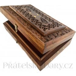 Šperkovnice luxusní zdobená truhla / Mahagon 25cm