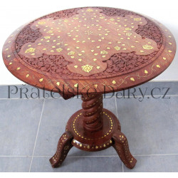 Luxusní řezbovaný stolek / Mahagon Intarzie 48 cm