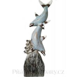 Luxusní XL Socha sousoší Delfín 2 / Dřevo 1,1m