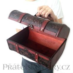 Truhla XL - BOX 2 - Kůže / Dřevo 30x21 cm