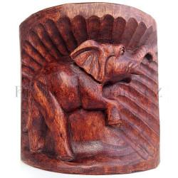 Slon Štěstí - Dřevo řezba / kmen stromu