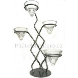 Svícen Design 4 ramena Kov / Sklo 35x25cm