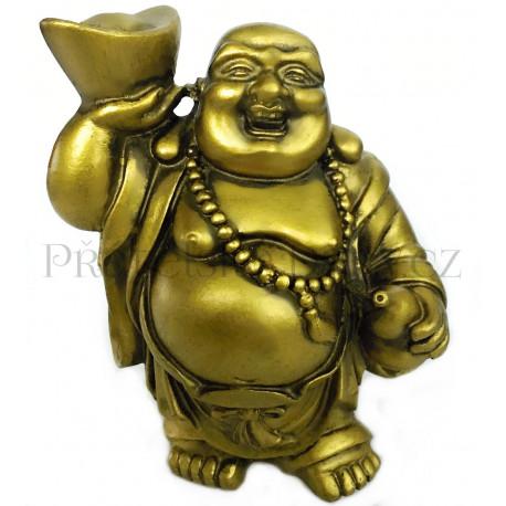 Soška Buddha bohatství Zlatý / 12cm