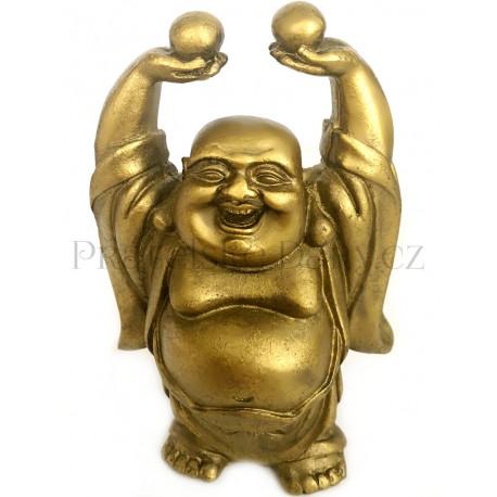 Buddha Bohatství s perlou Zlatý / Soška