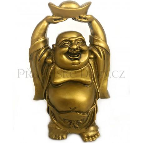 Buddha Bohatství s Ingotem Zlatý / Soška