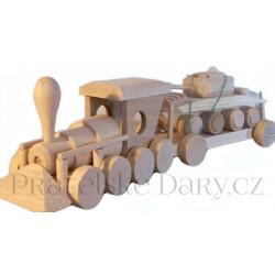 Vlak nákladní a Tank Natur / Dřevo 40cm