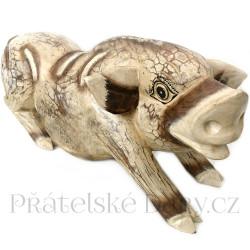 Prase - dřevěná XL Socha Čuník / 50cm
