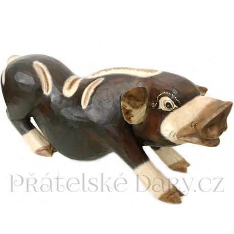 Prase - dřevěná XL Socha Čuník 2 / 50cm