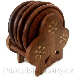 Dřevěné Podtácky - zdobený stojánek 1 / Dřevo