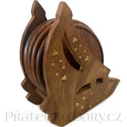 Dřevěné Podtácky - Zdobený stojan 2 / Dřevo