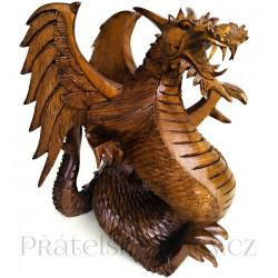 Luxusní Socha Drak s křídly / dřevo 22 cm