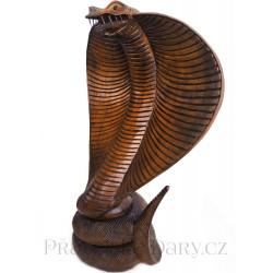 Kobra - Luxusní Dřevěná Socha Zdraví / 50 cm