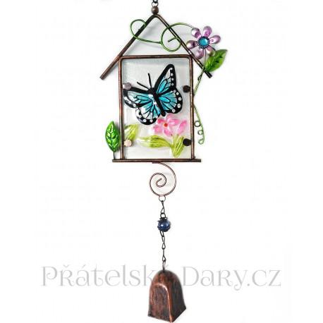 Zdobený Zvonek / Zvonkohra Motýl 47cm