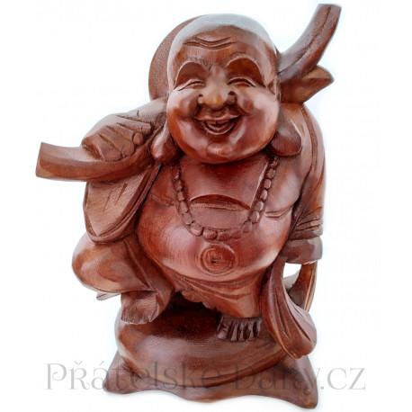 Buddha Štěstí 2 Feng Shui / dřevěná Socha 25cm