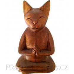 Kočka soška Meditace 1 / Dřevo