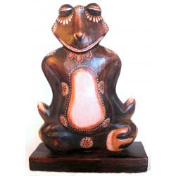 Žába / Žabák 2 dřevěná Socha Meditace 33cm