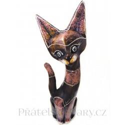 Kočka 6 dřevěná Socha Růžová / 50 cm