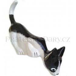 Kočka sedící 2 - krásná soška / Dřevo 12cm