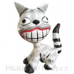 Kočka zubatá - krásná soška / Dřevo 15cm