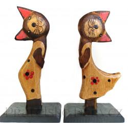 Kočka - Kocour Duo soška / Dřevo 15cm