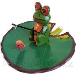 Žába - soška Rybář rybka / Dřevo 13cm
