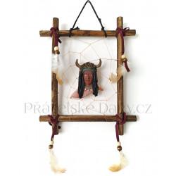 Indián obraz 1 obrázek na stěnu / Dřevo 19x23cm