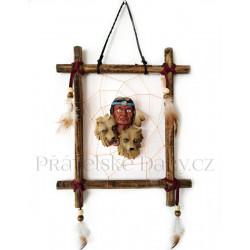 Indián obraz 2 obrázek na stěnu / Dřevo 19x23cm