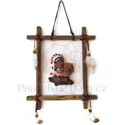 Indián obraz 3 obrázek na stěnu / Dřevo 19x23cm
