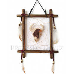 Indián obraz 5 lebka Bizon na stěnu / Dřevo 19x23cm