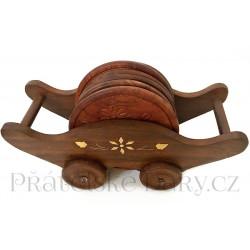 Dřevěné podtácky - dřevěný vozík / dřevo 18cm
