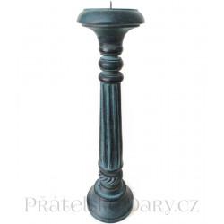 Krásný dřevěný Svícen / Modrá 41 cm
