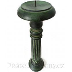 Krásný dřevěný Svícen / Zelená 41 cm