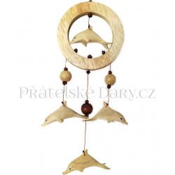 Dekorace - Lapač snů Delfíni / ruční práce dřevo 30cm