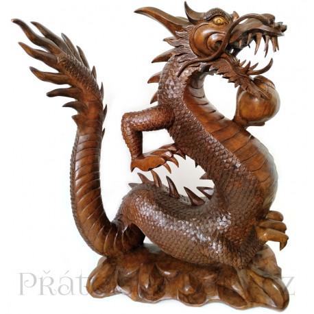 Luxusní XL socha Drak / Dřevo 51 cm