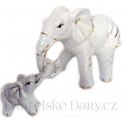 Slon - 2 Sloni soška / Porcelán
