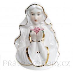 Panna Marie Madona a květ / Porcelán 15cm