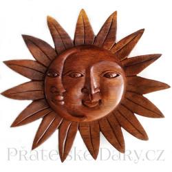 Slunce Měsíc luxusní dekorace / Mahagon 20cm