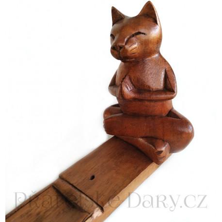 Kočka 1 soška stojánek na vonné tyčinky Dřevo