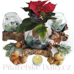 Originální Vánoční Dekorace Váza, Mísa, Svícen / Dřevo Sklo