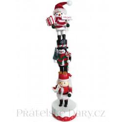 Louskáček Vánoční Sněhulák Santa Trio / Dřevo 36cm