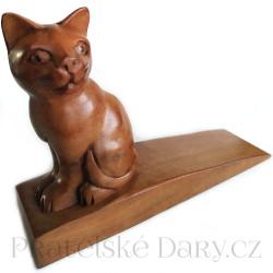 Kočka soška zarážka Dřevo 16 cm